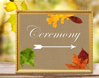 Wedding Ceremony Arrow Printable 8x10 Sign Left & Right Arrows - Fall Wedding Autumn Leaves Watercolor Kraft Paper - Reception Direction