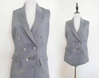 Grey Women Suite Vest Waistcoat Sleeveless Vintage Jacket 1980s