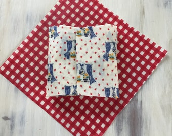 Beeswax Wraps Set, Upcycled Cotton with Local Ventura County Organic Beeswax, Fabric Wrap, Set of Two