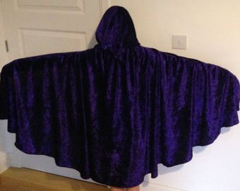 Medieval Cape hooded cloak costume crushed velvet Stretch Velour purple black adult kids teenagers