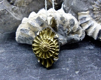 Small Pyrite Ammonite Pendant in Sterling Silver. Fossil of chambered nautilus shell. Negative Imprint in Brass (item number 7141)