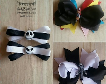 Nightmare before christmas hair bows, Jack and Sally hair bows, Jack skellington, disney hair bows.