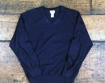 Vintage LL Bean Cotton/Cashmere V-Neck Sweater Sz Large