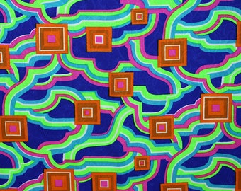 Vintage Fabric, 4 + Yards, Psychedelic Fabric, 1960s Fabric, 1970s Fabric, Neon Fabric, Blue, Green, Hot Pink, Orange, Turquoise Blue