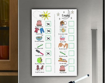 Kids Dry Wipe planner, Magnetic, Fridge Chart, Morning and evening routine, Toddlers, ADHD, Autism, Pre schooler, Task List