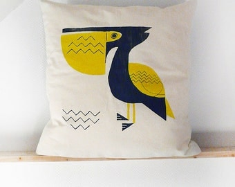 Screen printed pillow PELICAN | recycled vintage fabrics | MERMADE | cushion, pillow, decorative pillows | SEA