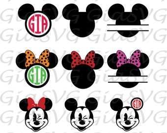 Disney Mickey Mouse svg, Minnie mouse svg, mickey monogram svg, minnie mouse split svg, ready to cut files, also in png, eps & DXF format
