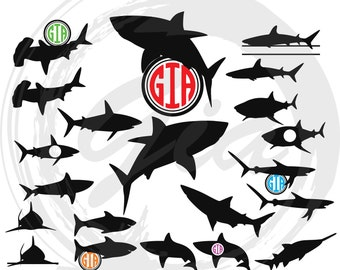 Shark SVG, shark monogram frame svg, shark clipart decals, ready to cut files for Cricut, Silhouette etc, also in png, eps & DXF