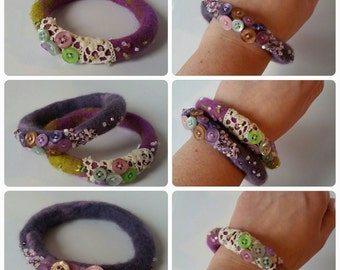 Pair of purple felted bangles with beads and buttons