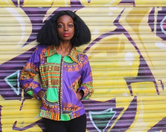 African workwear Jacket - Hamed Jacket - Purple Dashiki Jacket - Wax Jacket - Festival Jacket - Wax Bomber - African Clothing
