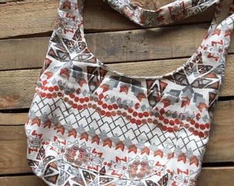 Aztec print unlined hobo/market bag