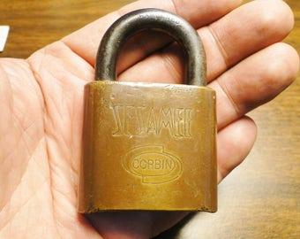 "Vintage Corbin Sesamee Combination Lock - Brass - 2"" X 3"" - Great Old Lock"