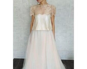 Bridal tulle skirt, separeted wedding dress, bridal gown, bridal wedding dress, skirt blush colored, unconventional wedding dress, boho bridal