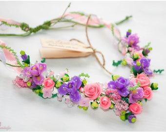 Purple flower necklace Clay lilac Flower jewelry Purple iris clay jewelry Polymer clay pink rose Polymer clay rose Polymer clay flowers Gift