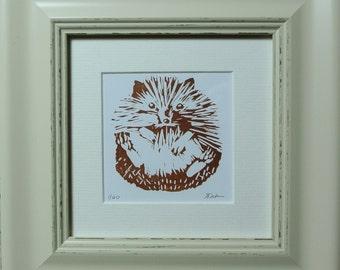 Little Hedgehog Linocut, Framed, Ready to Hang (2016)