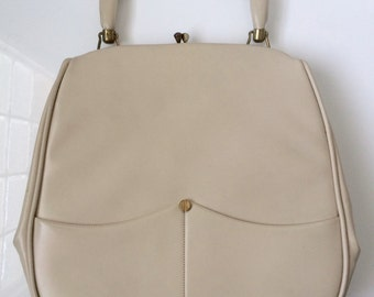 Vintage White/Cream Top-Clasp Markay 1960's Bag - Retro Classic Pinup Style