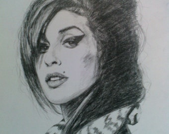 Amy Winehouse - original pencil drawing- signed by the author - original artwork - Portrait