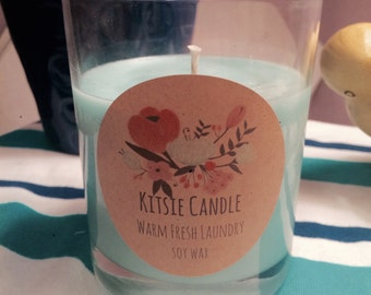 Warm Fresh Laundry- Soy Wax Candle by Kitsie Candle