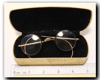 Antique spectacles round reading frames glasses eyewear with authentic case