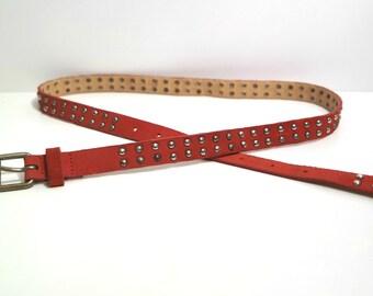 Women's Vintage Leather Skinny Belt, Suede Belt With Rivets, Coral Pink Belt,  Thin Leather Belt