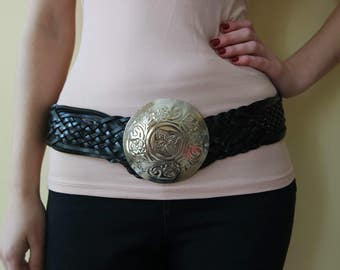 Vintage Black Leather Belt, Morocco Belt, Black Braided Belt, Waist  Belt,  Hip Belt