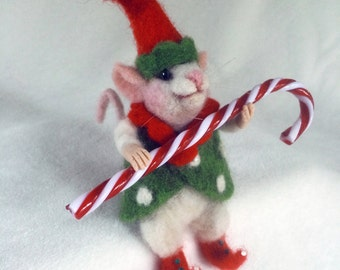 Elf on the Shelf - Needle Felted Mouse Artist Doll