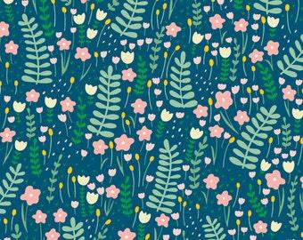 Sapphire Secret Garden Cotton Lycra Jersey Knit from Dear Stella's Fresh Dew Knits Collection - Paula and Waffle 4 way stretch ST-KPW727SAP