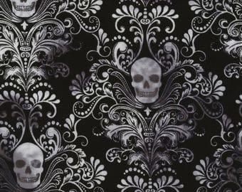 Black Skull Damask Quilting Cotton from Timeless Treasures  C3759-CHAR wicked eve gothic halloween 44""