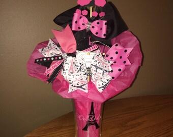 """Girls """"Paris""""  Gift Hair Bow Bouquet"""