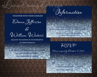Navy and Silver Wedding Invitation Set, Silver Glitter, Silver Wedding Template, Invitation 5x5 inches, code-034
