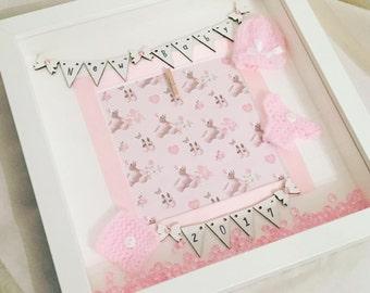 Beautiful Handmade Baby Deep Box Picture Frame Nursery, New Baby, Baby Shower, Christening Gift, scan photo