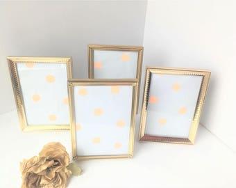 Vintage 5 x 7 Brass Photo Frames / Brass Photo Frames / Vintage Picture Frames / Gold Picture Frames / Lot of Picture Frames / Wedding Decor