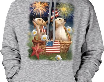 Puppies, Americana, Independence Day Hooded Sweatshirt, NOFO_00936
