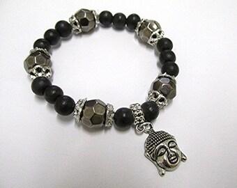 Wooden bead bracelet yoga bracelet Buddha bracelet black beaded bracelet grunge bracelet emo bracelet meditation boho bracelet.