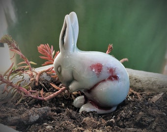 Gray Ceramic Easter Bunny Raku Rabbit Figurine collectible miniature small little red