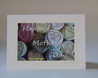 An original photo-art Mother's Day card featuring lovehearts