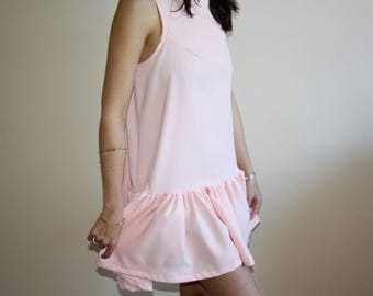 SALE Josephine Dress- Pink, stretchy, wrinkle-free fabric with a fitted bodice and oversized peplum