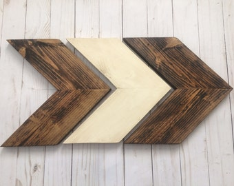Free Same Day Shipping~Chevron Arrows Dark Walnut Stain,Cream