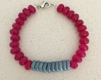 Pink Jade and Blue Czech Glass Bracelet
