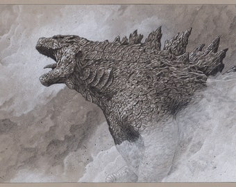 Godzilla pencil illustration A3 print