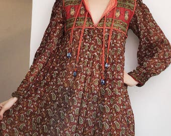 ON HOLD till 4/7 Vintage indian cotton hippie boho seventies dress S