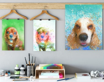 Watercolor dog art Cavalier portrait Custom dog portrait Elegant dog portrait Dog loss portrait custom dog painting pet loss gifts