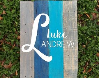 Baby Name Wood Sign~ Custom Pallet Wood Sign~ Nursery Wall Decor~ Baby Boy~ Reclaimed Wood~ Pallet Wood~ Custom~ Hand Painted~ Blue Teal