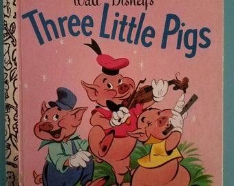 Walt Disney's Three Little Pigs Vintage Little Golden Book 1977
