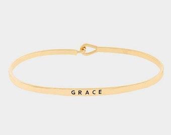 Grace Bracelet, Gold Grace Bracelet, Grace Mantra Bracelet, GRACE Bangle, Mantra Bracelet, Gold Mantra Bangle, Grace Stack Bracelet