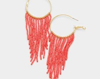 seed bead hoop earrings, beaded hoop earrings, beaded hoops, seed bead earrings, gold coral beaded hoop earrings, fringe hoop earrings