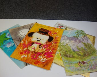 Selection of Vintage Greeting Cards Colorful Get Well & Birthday Cards with Envelops