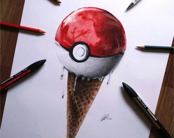 Pokemon Ice Cream - Original Drawing
