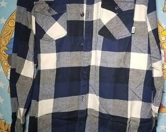 Vans Plaid Blue Long Sleeve Shirt XXL