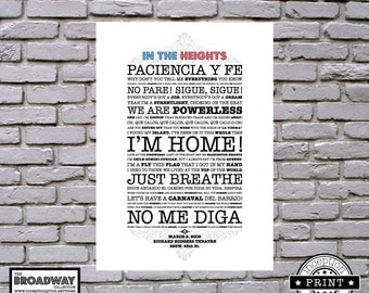 In The Heights - Unframed - Quotes - Lyrics - Typography Print